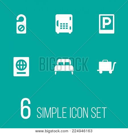 Set of 6 hotel icons set. Collection of do not disturb sign, in room safe, luggage trolley and other elements.
