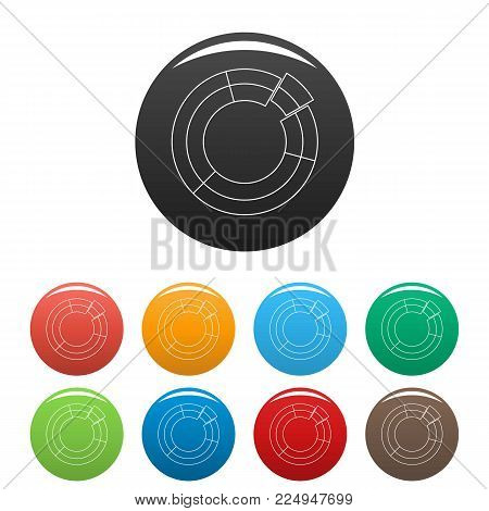 Circle chart icons color set isolated on white background for any web design