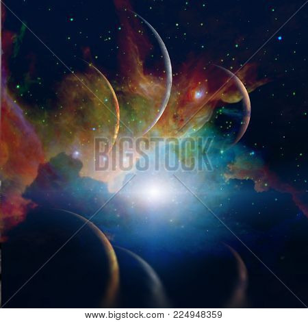 Space landscape. Planets parade. 3D rendering