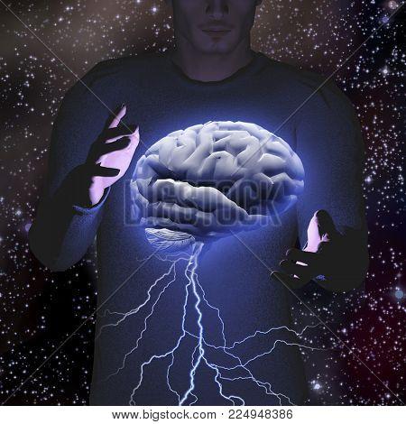 Man controls brain storm. 3D rendering
