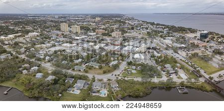 The downtown area of Melbourne, Fl on the Indian River Lagoon and Atlantic Ocean.