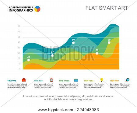 Five area charts. Business data. Progress, point, design. Creative concept for infographic, templates, presentation. Can be used for topics like marketing, management, research.