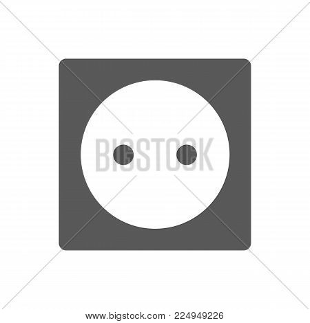 Power socket icon. Black simple illustration of power socket vector icon isolated on white background