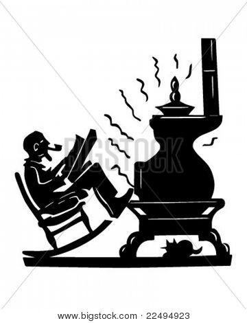 Old Man With Pot Bellied Stove - Retro Clipart Illustration