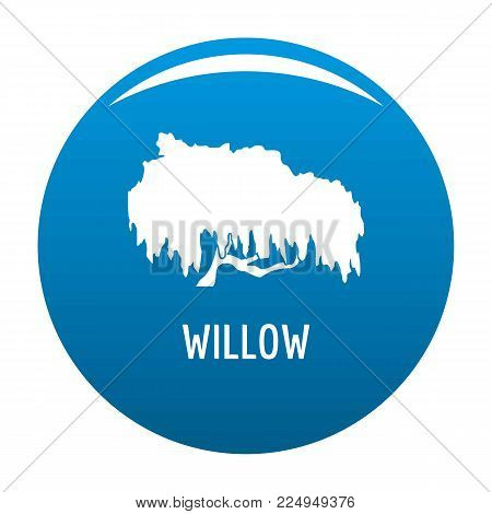 Willow tree icon vector blue circle isolated on white background