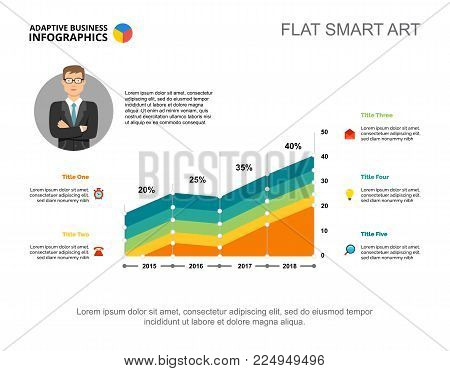 Five area charts. Business data. Percentage, point, design. Creative concept for infographic, templates, presentation. Can be used for topics like finance, management, research.
