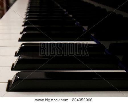 piano keyboard white keys black keys black piano reflection