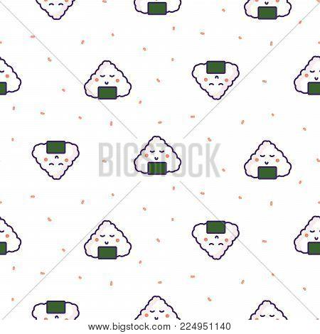 Onigiri rice ball japan seamless vector pattern. Japan food cartoon background.