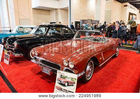 PHILADELPHIA, PA - Feb 3: a 1962 Chevy Corvette at the 2018 Philadelphia Auto Show