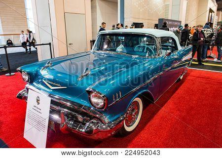 PHILADELPHIA, PA - Feb 3: a 1957 Chevy at the 2018 Philadelphia Auto Show