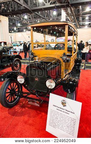 PHILADELPHIA, PA - Feb 3: a 1922 Ford Model T at the 2018 Philadelphia Auto Show