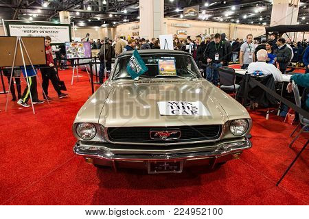 PHILADELPHIA, PA - Feb 3: a 1967 Ford Mustang at the 2018 Philadelphia Auto Show