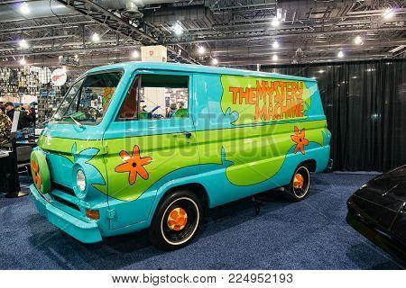 PHILADELPHIA, PA - Feb 3: the Scooby Doo Mystery Time Machine Van at the 2018 Philadelphia Auto Show