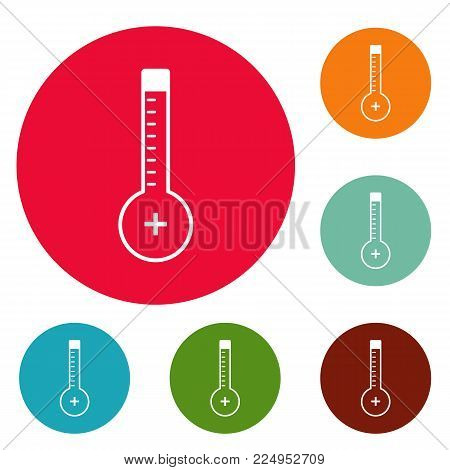 Thermometer warmly icons circle set vector isolated on white background