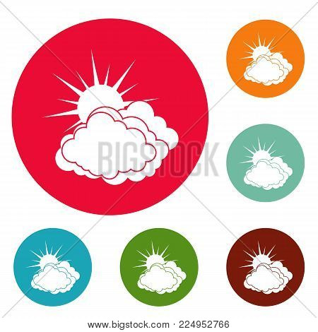 Blue cloudy sun icons circle set vector isolated on white background