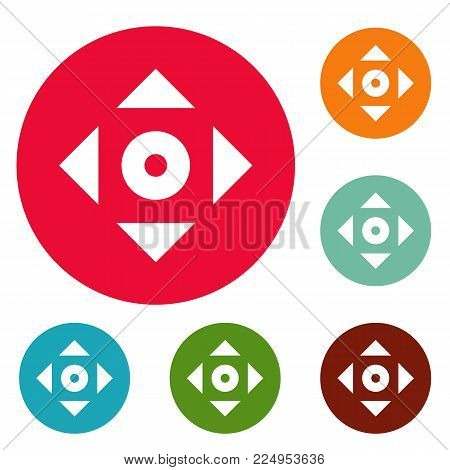 Cursor displacement app icons circle set vector isolated on white background