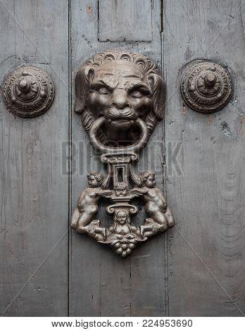 Detail of a vintage metal decorative door knob on a wooden door.