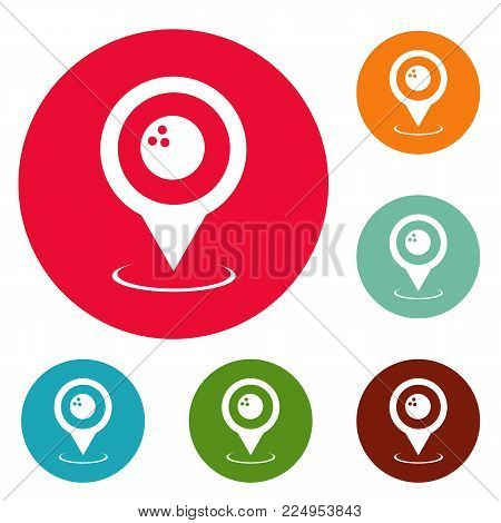 Bowling map pointer icons circle set vector isolated on white background