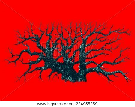Big Dead Tree On Red Background. Natural Disaster And Post-apocalyptic Theme.