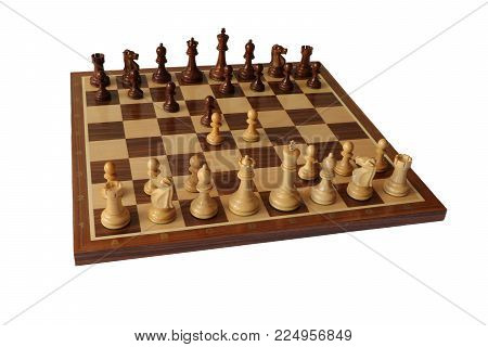 Photo of chess opening on white background. Caro-Kann Defence.