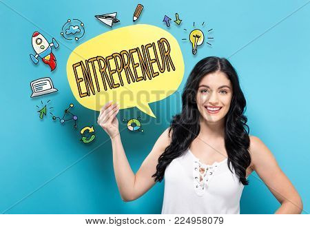 Entrepreneur with young woman holding a speech bubble