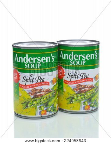 IRVINE, CA - JANUARY 4, 2018: Andersens Split Pea with Bacon Soup. The low fat soup is Trans Fat free and a good source of fiber and protein.