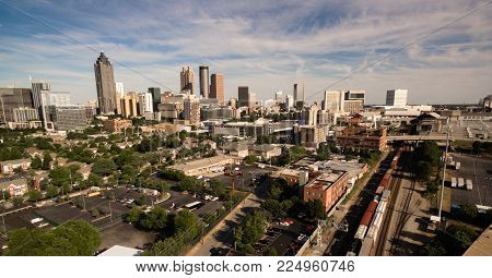 A View Of The Urban Sprawl Of Buildings In The Vast Atlanta, Georgia Skyline North America