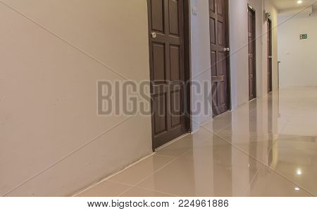 cream ceramic second floor of apartment, modern interior and warm light lamp