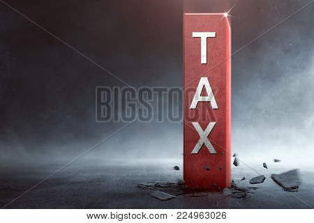 Big Block With Tax Text Coming Out From The Ground
