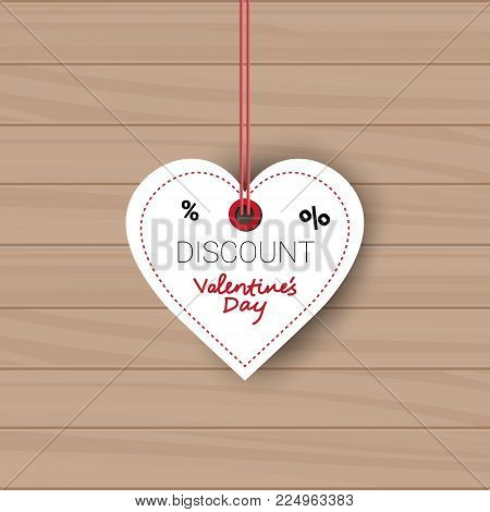Valentines Day Sale Tag In Shape Of Heart Holiday Discount Tag On Wooden Texture Background Vector Illustration