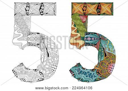 Hand-painted art design. Number five zentangle objects. Colored and outline set