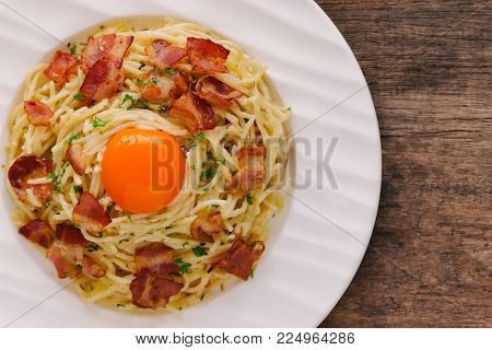 Spaghetti Carbonara With Bacon, Cheese, Yolk And Sprinkle Chopped Parsley. Delicious Spaghetti Carbo