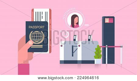 Business Hand Holding Passport And Tickets To Plane Over Check In Scanner At Airport Woman On Registration For Departure Concept Flat Vector Illustration