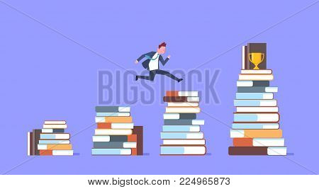 Business Man Jumping Over Stacks Of Books To Golden Cup Successful Businessman Winner Flat Vector Illustration