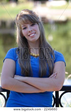Lovely Teenage Girl In Blue