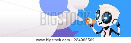 Cute Smiling Robot Chatbot Holding Megaphone Over Chat Bubbles Background Horizontal Bannner Flat Vector Illustration