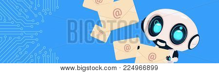 Robot Holding Envelopes Email Letters Chatter Bot Over Circuit Background Horizontal Bannner With Copy Space Flat Vector Illustration