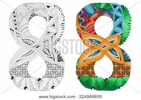 Hand-painted art design. Number eight zentangle objects. Colored and outline set