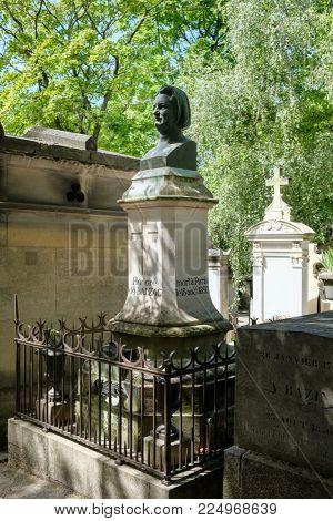 PARIS,FRANCE - AUGUST 1,2017 : The grave of Honore de Balzac at Pere Lachaise cemetery in Paris