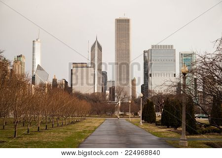 Grey Skies Cover Tall Buildings Along Lake Shore Drive In Chicago Illinois