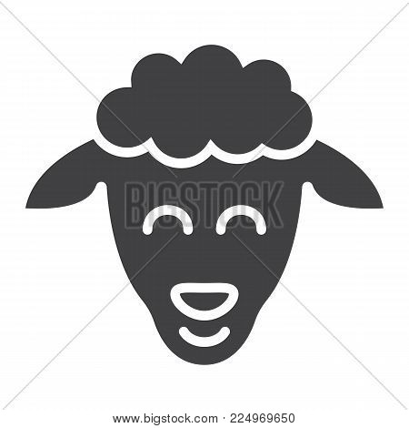 Sheep glyph icon, easter and holiday, lamb sign vector graphics, a solid pattern on a white background, eps 10.