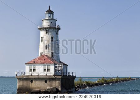 The light house in the middle of Michigan's Lake in Chicago