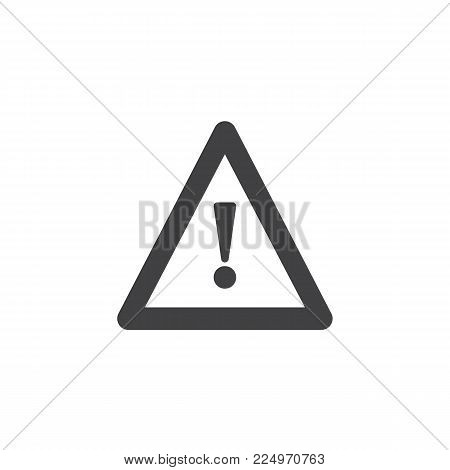 Hazard warning attention icon vector, filled flat sign, solid pictogram isolated on white. Triangular signal with Exclamation sign symbol, logo illustration.