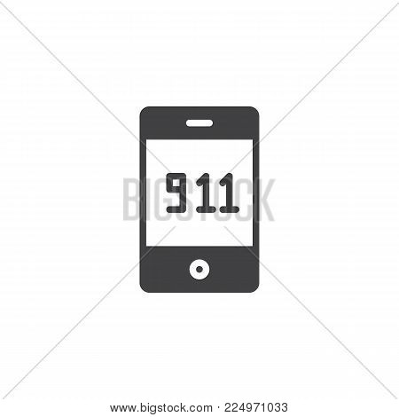 Emergency call 911 icon vector, filled flat sign, solid pictogram isolated on white. Mobile phone with 911 symbol, logo illustration.