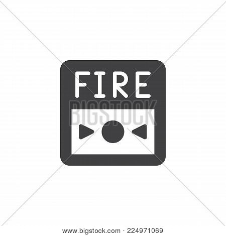 Fire alarm button icon vector, filled flat sign, solid pictogram isolated on white. Symbol, logo illustration.