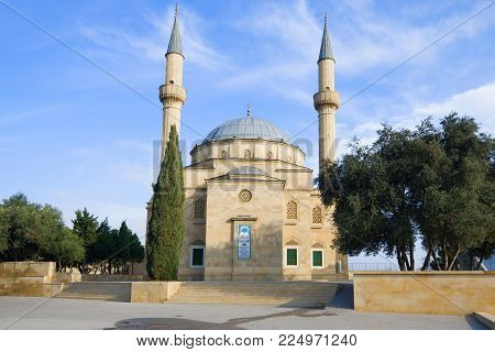 BAKU, AZERBAIJAN - DECEMBER 29, 2017: Mosque in the Shahid Alley on December Day