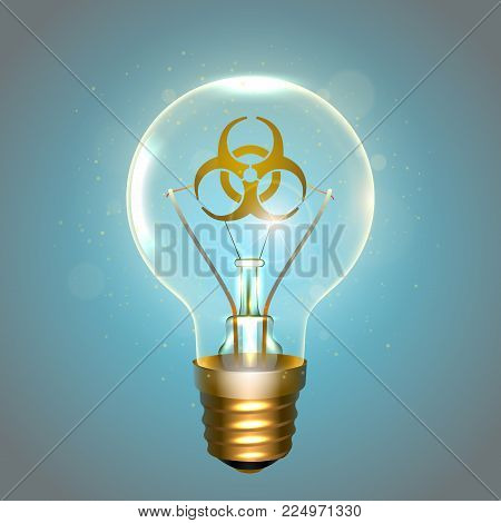 Realistic lamp with the symbol of biohazard instead of the filament of incandescence, isolated on a blue background, vector illustration