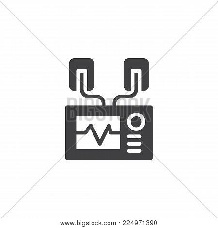 Automated external defibrillator icon vector, filled flat sign, solid pictogram isolated on white. AED symbol, logo illustration.