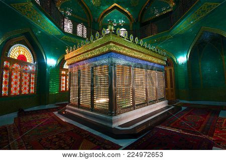 BAKU, AZERBAIJAN - JANUARY 04, 2018: Tomb of the direct descendant of the family of Mohammed - Ukeima-khanum in the Shiite mosque Bibi-Heybat