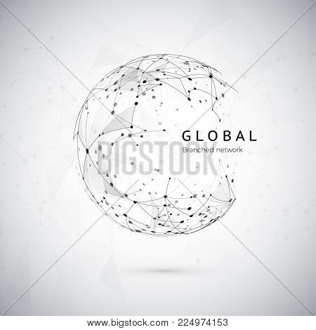 Abstract global network concept. Web structure, social nets concept, node net. Dots and connection mesh. Sphere technology cyberspace background. Vector illustration on white background